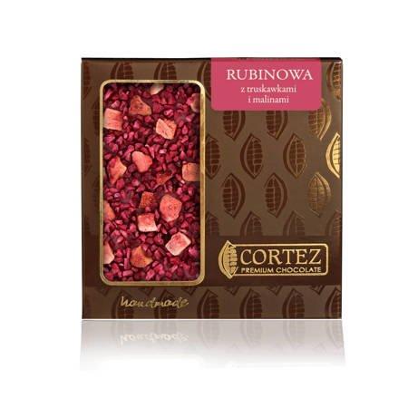 Cortez Czekolada rubinowa truskawki i maliny 85g