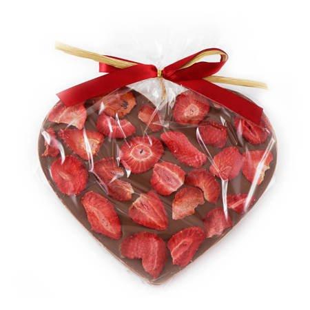 Cortez Serce Maxi z mlecznej czekolady z truskawką