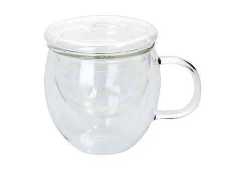 Szklany kubek z zaparzaczem i przykrywką 380ml